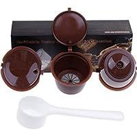 Paide [3pcs] Cápsulas de café recargables y reutilizables - Dolce Gusto (Marron)