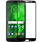 AA19 Premium Full Glue, No Rainbow, Full Front Body Cover Tempered Full Glass Screen Protector Guard for Moto G6 - Black
