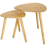 SONGMICS Juego de 2 mesas Laterales bambú Mesa de café Mesa de Centro Mesa Auxiliar LNT352N