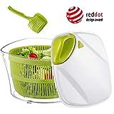 Focovida Salatschleuder 5L mit Deckel & Nudelzange 【Design Patent】 Großer Salattrockner inkl. Salatschüssel zum Servieren & Ablaufsieb für Wasser aus Kunststoff