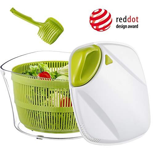 Focovida Essoreuse à Salade Grande Capacité 5L sans BPA Essoreuse de Salade/Légumes Plastique avec Nouvelle Poignée/Grille d'Evacuation d'eau, Essorage Efficace, Blanc/Vert, Pince 7cm Gratuit Inclus