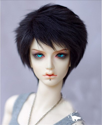 Tita-Doremi Ball-jointed Doll BJD Perücke Puppen Haarteil Für 1/4 7-8 inch Mini Dollfie SD10 MDD MSD Volks AOD Minifee DOD LUTS DZ Doll Black Wig Hair 1/4 7-8 inch 18-19cm (Perücke Nur,Keine Puppe ) -