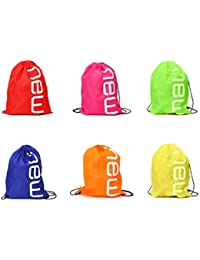 NEW Drawstring Backpack Bags By ISusser, 6 Pack Cute Assorted Color Party Favors Supplies Stuff For Kids Teens...