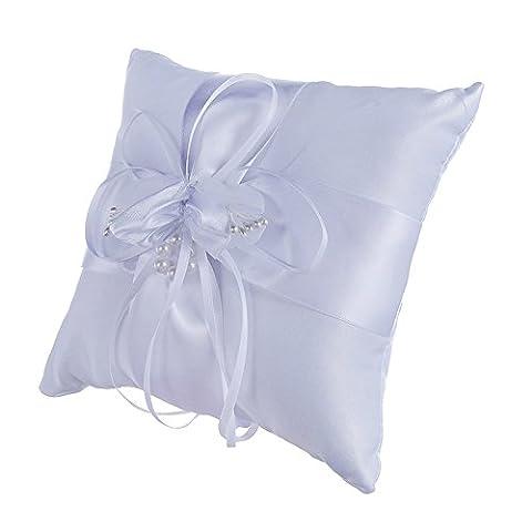 Lugii Cube Superbe Boutons de fleurs Bague de mariage Oreiller Coussin Porteur Accessoires de mariage Blanc 15x 15cm
