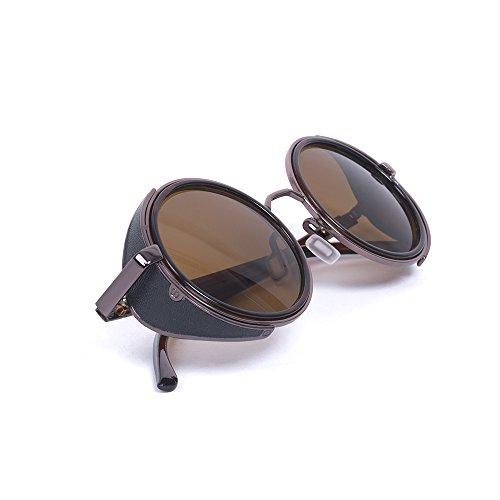Steampunk Classic estilo Vintage inspirado en un Soldado Imperial 50s redondo de color negro y plateado marco verde puede no estar en español Desafiador gafas de sol (Marrón)