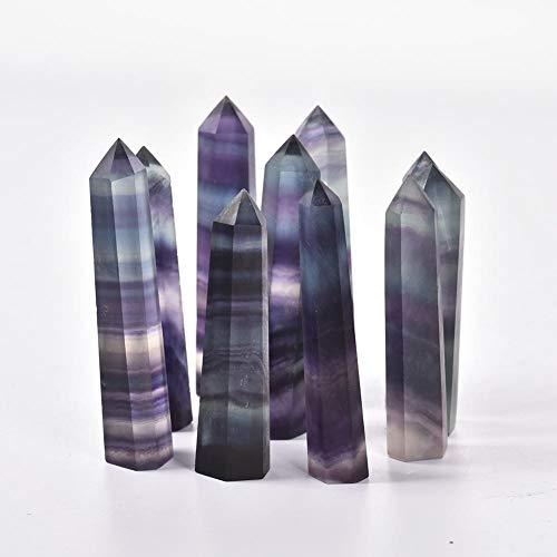 miraculocy 100 Natürlicher Fluorit Kristall Bunt Gestreifter Fluorit 4.5-6.5CM Quarz Kristall Stein Punkt Heilung Hexagonal Zauberstab Behandlungsstein -