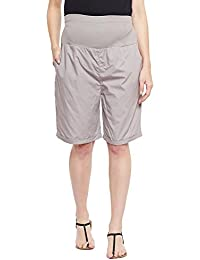 Oxolloxo Solid Grey Maternity Shorts