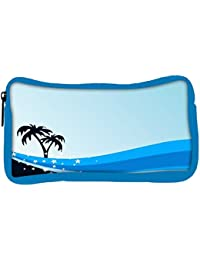 Snoogg Eco Friendly Canvas Summer Background With Palm Tree And Blue Wave Student Pen Pencil Case Coin Purse Pouch...