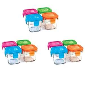 WEAN GREEN Boîte de conservation WEAN CUBES en Verre 120 ml couleur ASSORTISx4
