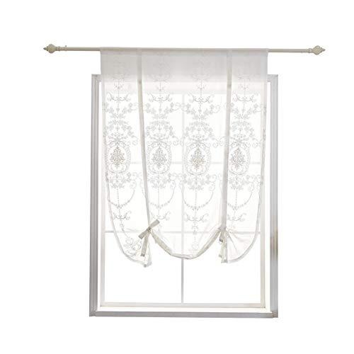SS&LL Bestickte Kurzgardinen,gardinen Für Schlafzimmer Binden Vorhänge Römischen Vorhangs Für Küche Schiere Vorhang-weiß 100x120cm(39x47inch)