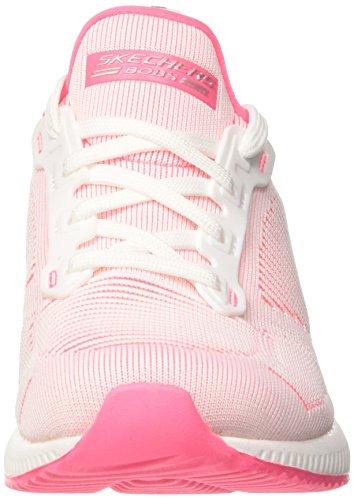 Skechers Damen Bobs Twin-slip Slip On Sneaker Weiß (bianco / Rosa Caldo)
