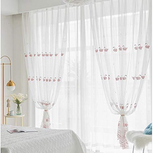 HUIQI Vorhänge ZYL koreanischen Stil kleinen frischen Schwan Bestickt Fenstergitter fertig einfache Moderne weiße Gaze Wohnzimmer Kinderzimmer Mädchen Pulverschwan Verdunkelungsvorhang -