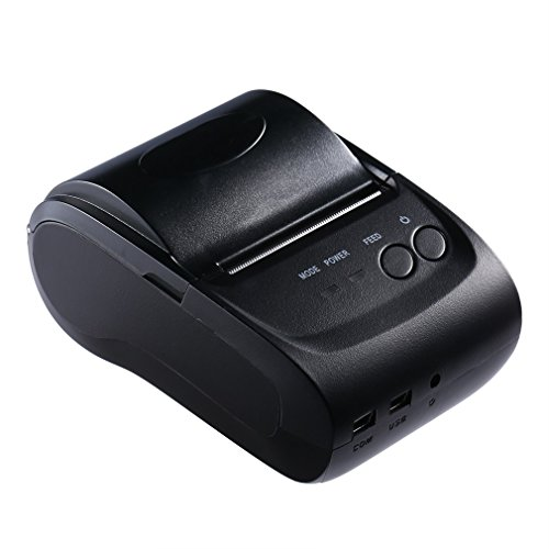 ICOCO 58mm POS Drucker, Mini Tragbar Kassendrucker, Bluetooth 2.0 Thermodrucker, 203 DPI Bondrucker für Quittung Rechnung Beleg Fahrkarte, Android iOS Windows