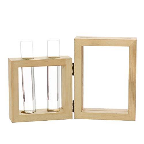 Moonuy Glasflasche Home deor Kreative Hydroponische Pflanze Transparente Vase Holz Display Rahmen Rahmen Coffee Shop Room Decor (Weiße Bettwäsche-schrank-glas-türen)