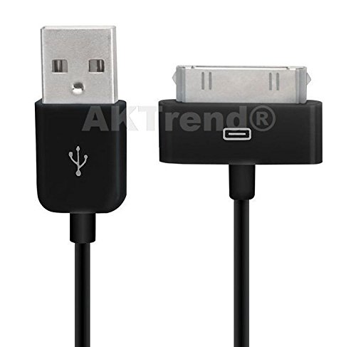Original AKTrend® USB Sync Kabel Datenkabel Ladekabel für Apple iPhone 2G, 3G, 3GS, 4, 4S, 4 S // iPod Mini, Photo, Nano 1G, 2G, 3G, 4G // iPod Video, Classic, Touch 1G, 2G (iP4 Ladekabel Schwarz) Ipod Nano Photo Video