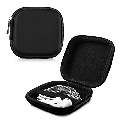 kwmobile In-Ear Kopfhörer Tasche - In Ear Headphones Schutztasche - Earphones Etui Case Cover Hülle für Kopfhörer in Schwarz - 3