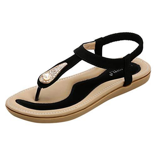 Schwarze Flip-flops Mit Strass-steinen (Womens Summer Low Flache Ferse Flip Flop Slingback Solide Coloe Sandalen Clip auf Post Tanga Boho Schuhe mit Strass)