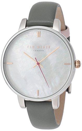 Pour femme en acier inoxydable Ted Baker London montre sur bracelet cuir avec cadran en nacre. Te15162002