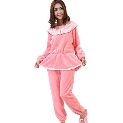 DMMSS Peignoirs velours chaud des femmes doux pyjama Ensembles deux pi¨¨ces Ensemble de nuit peach red