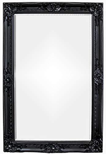 Rococo by Casa Chic - Grand Miroir Rectangulaire - Style Baroque Shabby Chic - 90x60 cm - Noir Mat