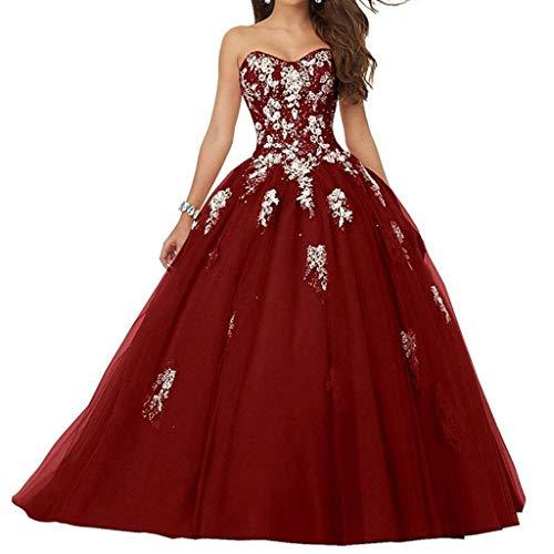 Burgund Quinceanera Kleid (Vantexi Damen Spitze Tüll A-Linie Ballkleid Lang Abendkleider Brautkleider Quinceanera Kleider Burgund Größe 52)