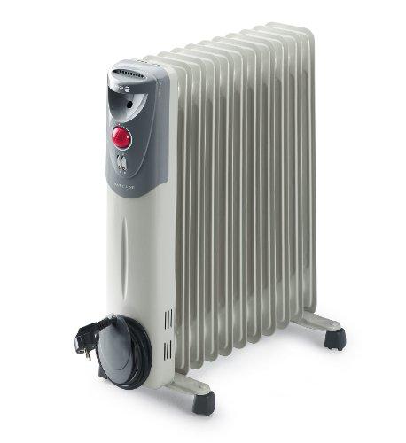 Fagor RN2500 - Radiador de aceite, 2500 W, 11 elementos, 3 posiciones, doble termostato, efecto chimenea, protección antiheladas, recogecables, color gris