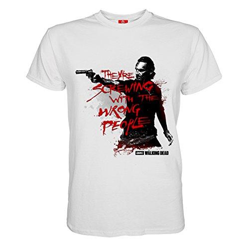 King of Merch - Herren T-Shirt - The Walking Dead Wrong People Daryl Dixon Rick Grimes Glenn Carl Carol Abraham Morgan Maggie Michonne Sasha Zombies Apokalypse TV Serie AMC Kult Weiß 3XL (Tshirt Dead The Carl Walking)
