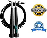 Newyond Speed Skipping Rope - Easily Adjustable, Lightweight + Premium Quality - Ideal for Crossfit, MMA, Boxing + Fitness Training - Suitable for Men and Women - Lifetime Guarantee