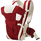 Chinmay Kids 4-in-1 Adjustable Baby Carrier Cum Kangaroo Bag/Baby Carry Sling/Back/Front Carrier for Baby with Safety Belt and Buckle Straps (Maroon)