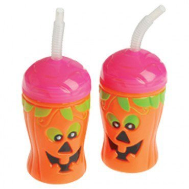 Halloween Theme Pumpkin Jack-O-Lantern Sippy Sipper Cup With Straw by US Toy