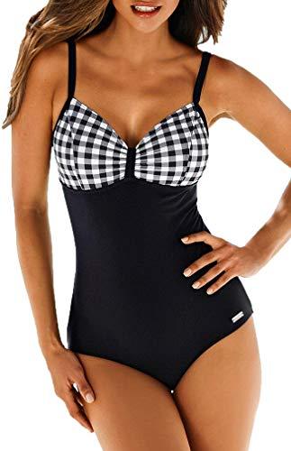 Socluer Badeanzüge Bauchweg Monokinis Bandeau Rückenfrei Figurformende Bademode Swimsuit für Damen Einteiler Badeanzug