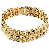 PIXNOR Men's 24k Gold Wrist Chain Bracelet Bangle (Golden)