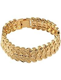 WINOMO Hommes poignet chaîne Bracelet Gourmette 24k or plaqué Style(Golden) étoiles