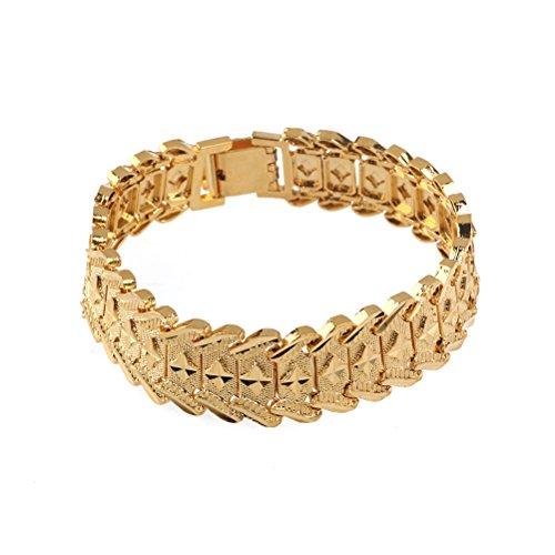 PIXNOR Herren 24 k Gold Handgelenk Kette Armband Armreif (Golden) (Gold Armband Kette)
