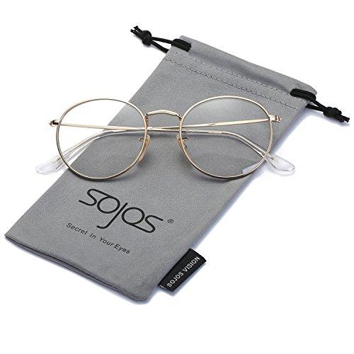 SOJOS Redondo Clásico Espejo Lentes Brillo UV Portección Polarizado unisex  Gafas de Sol SJ1014 Marco Dorado 9176b715fa60