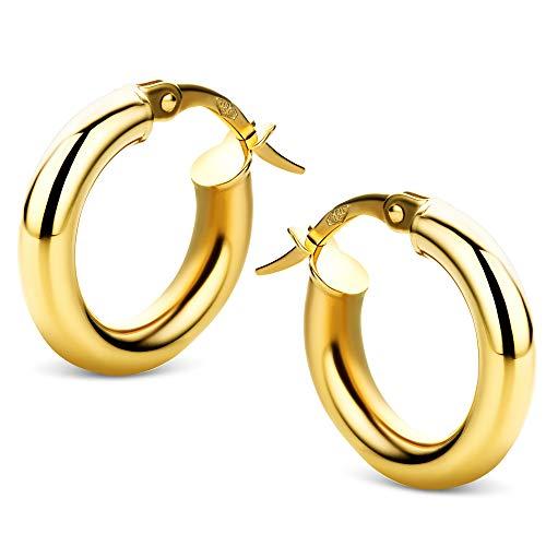 Orovi Schmuck Damen Ohrringe Gelbgold Creolen 18 Karat (750) Gold Ohr-Schmuck
