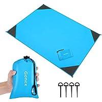 Gonex Beach Blanket 140cmx200cm Portable Lightweight Sandproof Waterproof Picnic Blanket for Outdoor Travel Camping Hiking Activities Blue