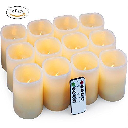 LED Kerzen Elektrische Flackernde Batteriebetriebene Kerzen Set von 12 (D:7,6 cm X H:10,2 cm) Flammenlose Kerzen Stumpenkerzen Batterie Kerzen mit Fernbedienung und Timer-Steuerung für Home