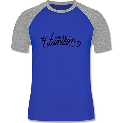 Statement Shirts - #weitertanzen - zweifarbiges Baseballshirt für Männer Royalblau/Grau meliert
