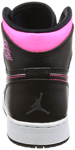 Nike Youth Air Jordan Retro High Leather Trainers Schwarz Rosa