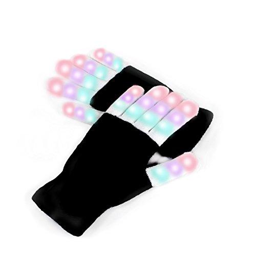 Für Disco Halloween Kostüme (Chnano LED Handschuhe mit 3 Farben Leuchtenden Einstellungen Coole Spielzeuge Gloves 6 Modi blinkende Bunte Finger Kostüm Geschenk für Disco Party Tanzabend Halloween Club Weihnachten Geburtstag Show Ostern DJ Fahrradfahren)