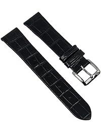 Ersatzband Uhrenarmband Leder Band Damenband schwarz passend zu Hugo Boss mit 18mm Anstoß 28339S