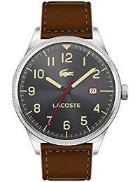 6738e4bacf6 Lacoste Continental Reloj de Cuarzo de Acero Inoxidable y Correa de Cuero  para Hombre