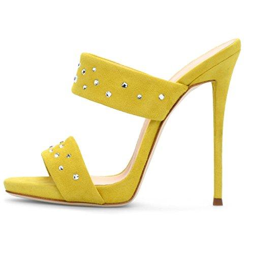 LYY.YY Frauen Heiß Bohren Offene Zehen Muller Schuhe High Heel Sandalen Hausschuhe Strass Wasserdichte Plattform (Absatzhöhe:12-13Cm),Yellow,34 -