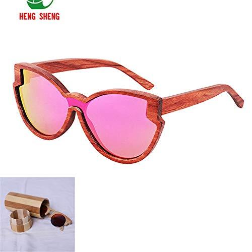 CWYPB Männer Frauen Einteilige Sonnenbrille, DIY Holz Polarisierte Sonnenbrille Farbe Bambus Brille mit Geschenkbox UV400 für Reise Strand Einkaufen,E