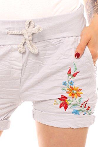 Easy Young Fashion Damen Shorts mit Blumen Stickerei One Size Hellgrau