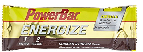 PowerBar Energieriegel Energize mit Magnesium und Natrium - Fitness-Riegel, Kohlenhydrate Riegel mit Hafer, Früchten und Maltodextrin bei erhöhtem Energiebedarf - 25 x 55 g Cookies and Cream