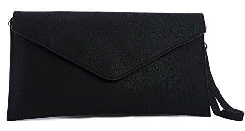 Big Handbag Shop Womens Fauxe Leather Envelope Clutch Bag with Long Shoulder Strap (Black)