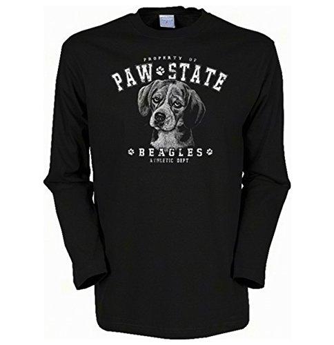 Herren Langarm-Shirt ::: Paw State Beagles ::: für Hundeliebhaber Schwarz