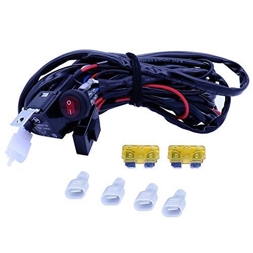 WANYIG 300CM Kabelbaum Kabelsatz Relais Adapter 12V 40A für 2PCS LED Off Road ATV Nebelscheinwerfer Scheinwerfer Arbeitsscheinwerfer Tagfahrleuchten Lichtleisten (max. 180W) -